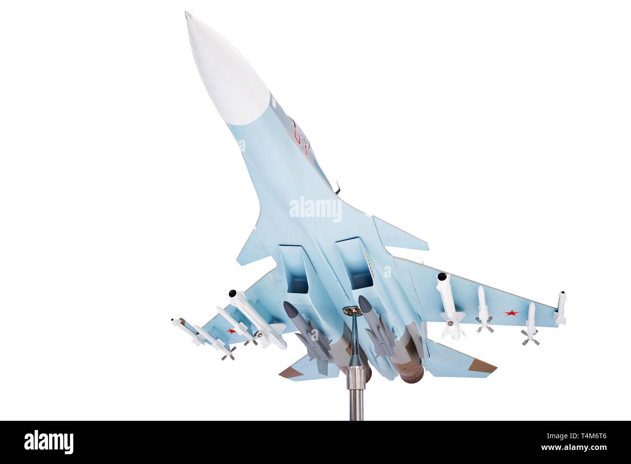 Modern russian fighter aircraft at the exhibition isolated white - Stock Image