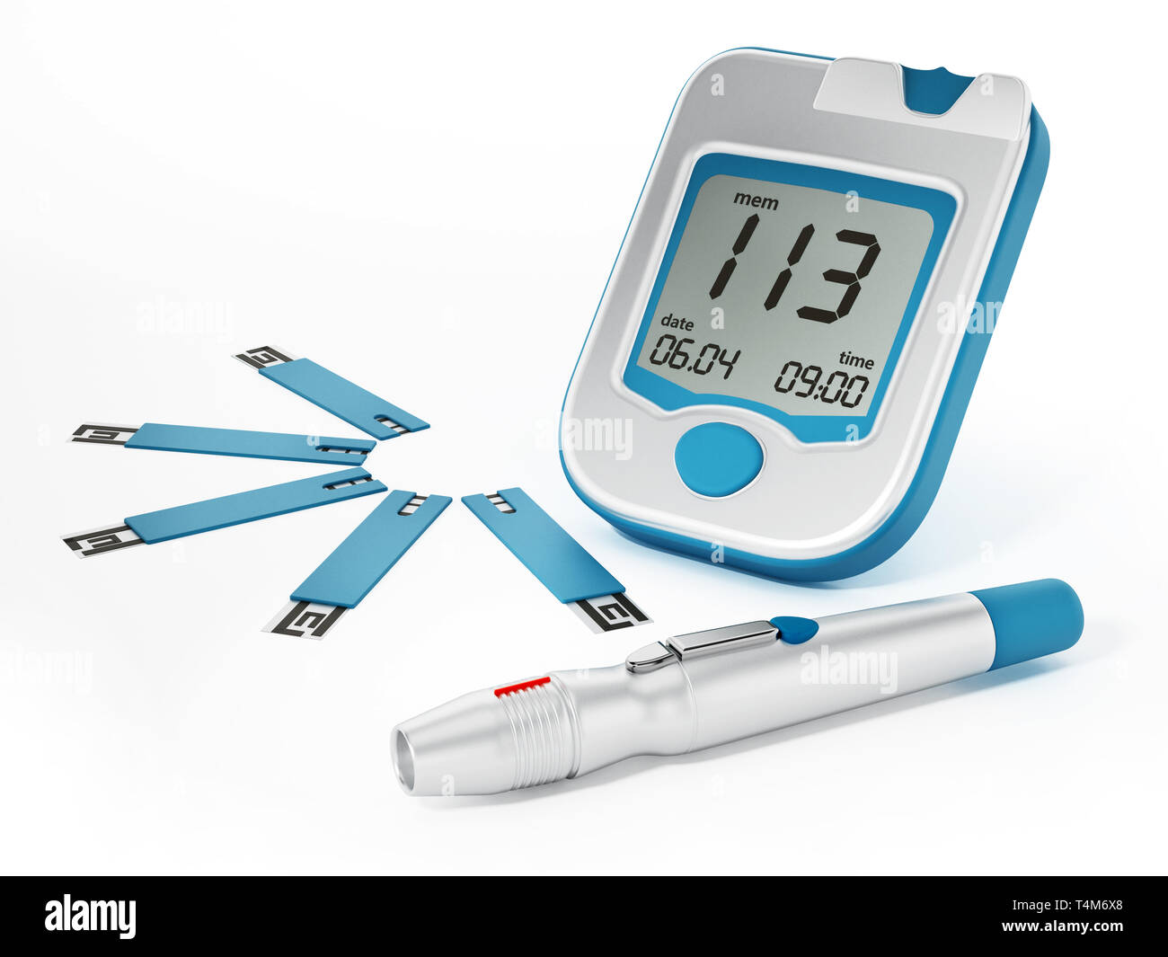 Blood glucose meter with strips isolated on white background. 3D illustration. - Stock Image