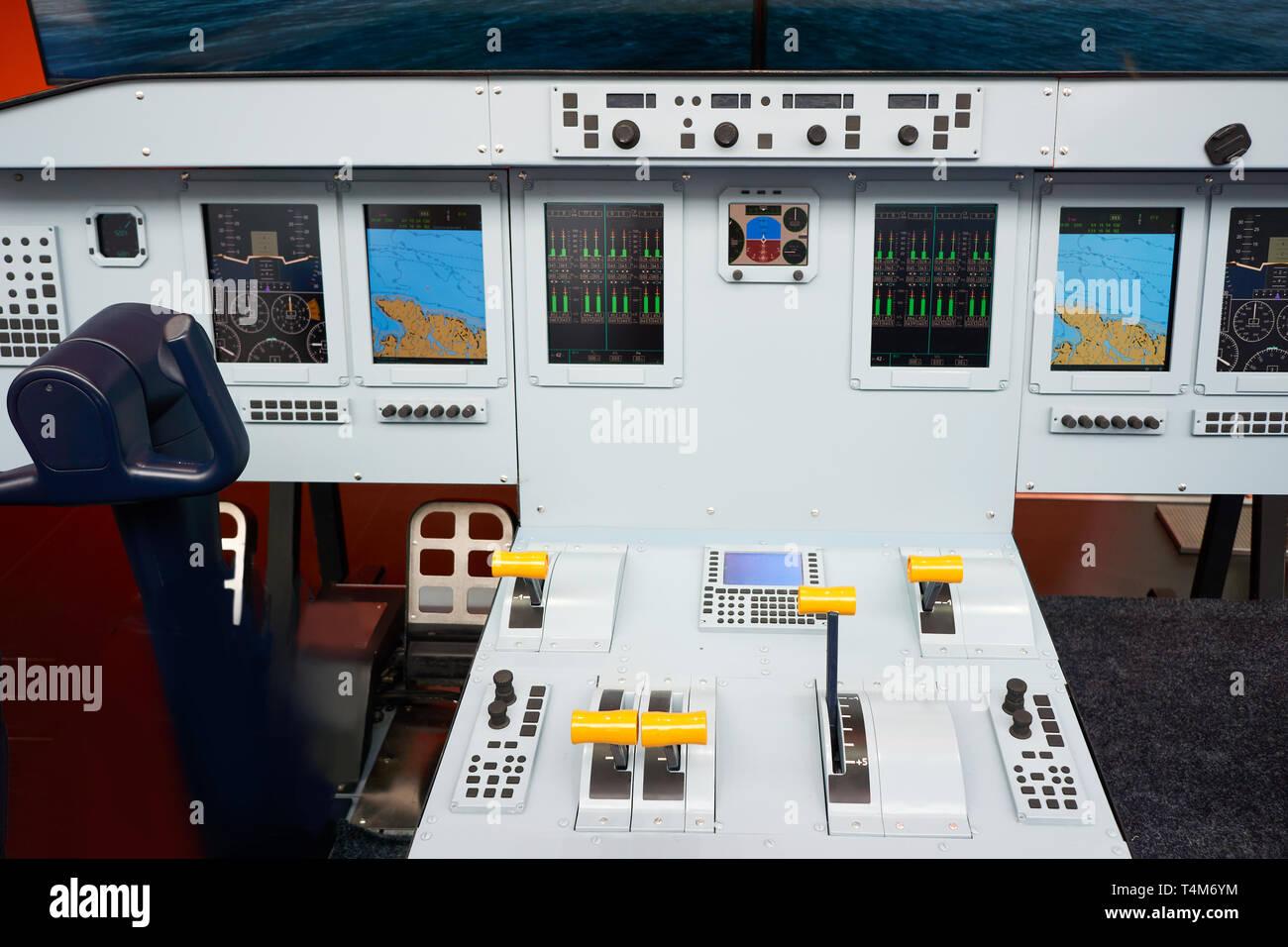 Modern aviation simulator for pilots Stock Photo
