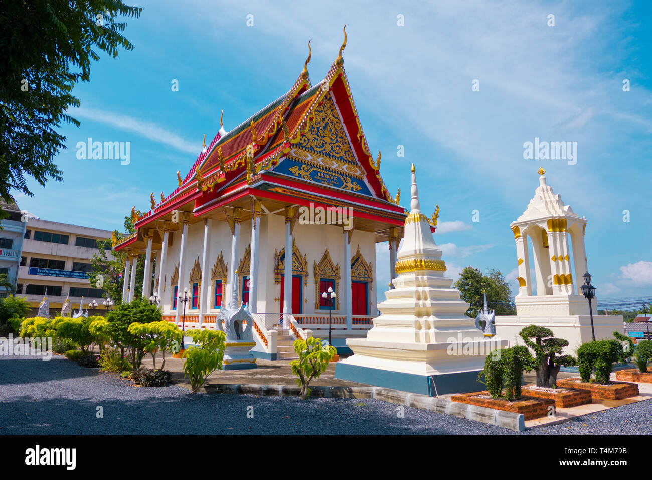 Pagoda, Wat Klang, Surat Thani, Thailand Stock Photo