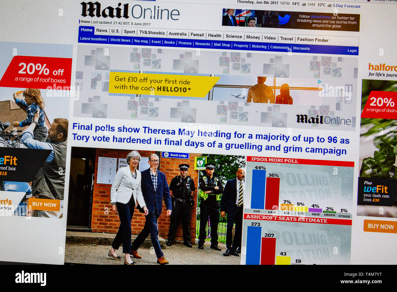 The Daily Mail Online on the evening of the June 2017 General Election in the UK predicting a large Conservative Party majority (incorrectly). - Stock Image
