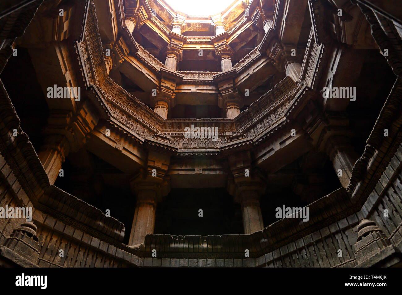 Dada Harir Vav stepwell is a Hindu water building in Asarwa Ahmedabad in the Indian state of Gujarat. - Stock Image