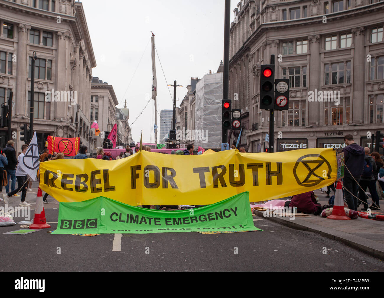17th April 2019: Extinction Rebellion: Protesters Banner ' Rebel for Truth ' in Oxford Circus. London. UK - Stock Image