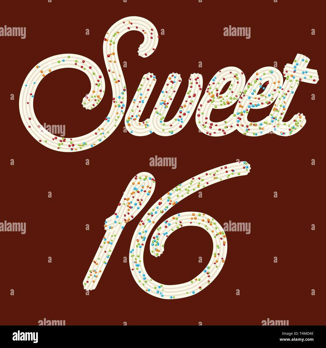 Tempting  typography. Icing text. 'Sweet 16' whipped cream text glazed with candy. Vector. - Stock Image
