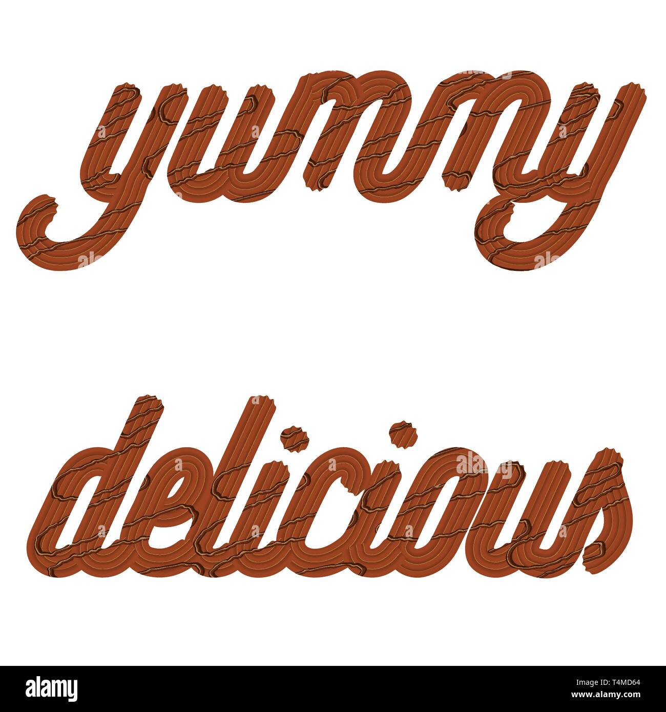 Tempting  typography. Icing text. Words 'delicious' and 'yummy' from chocolate cream glazed. Vector - Stock Image