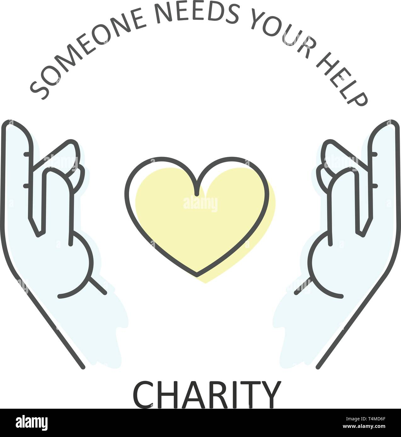 Hands embraces heart - charity, donation and volunteer help concept Stock Vector