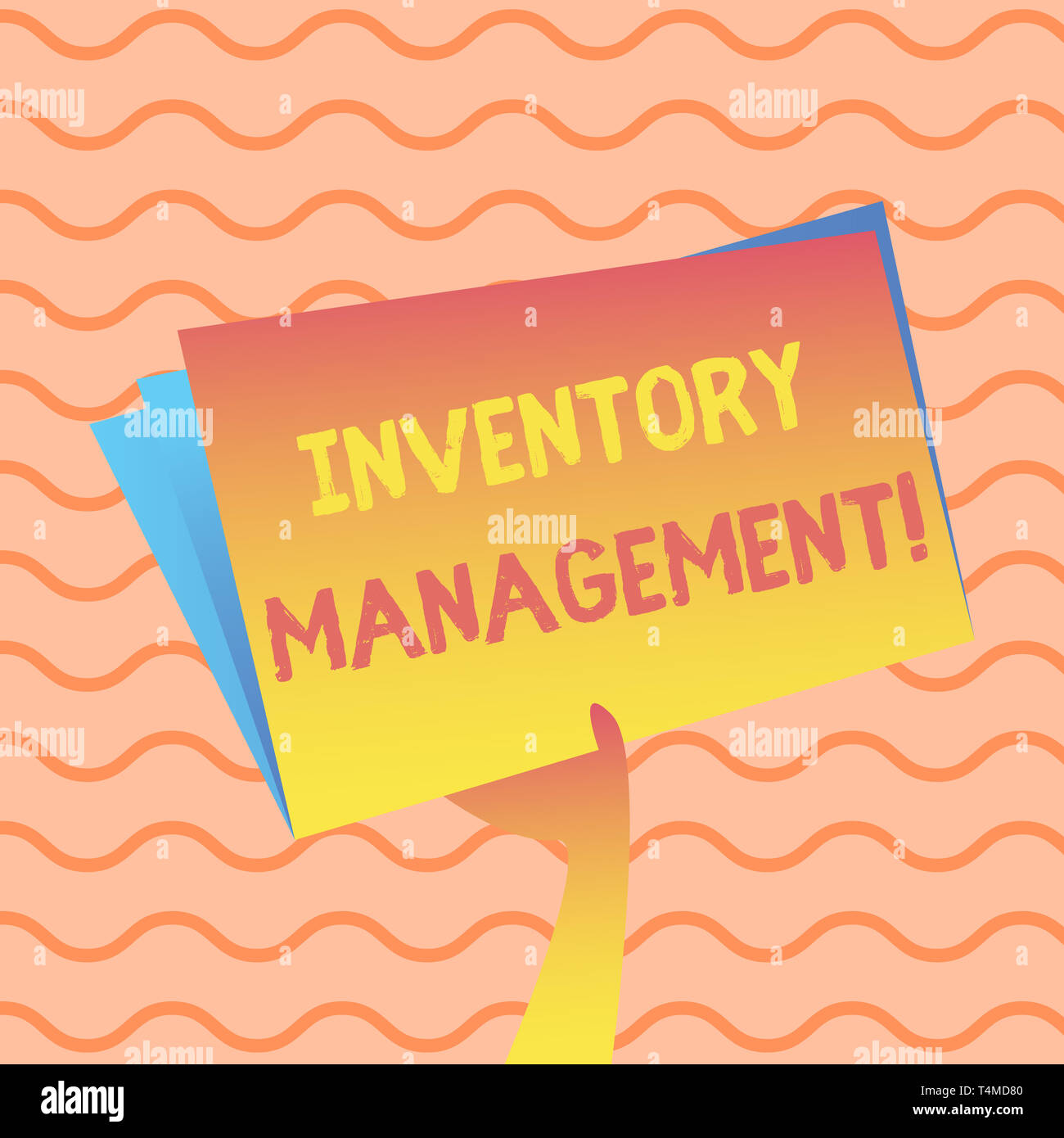 Word writing text Inventory Management. Business photo showcasing supervision of noncapitalized assets and stock items Hand Holding and Raising Blank  - Stock Image