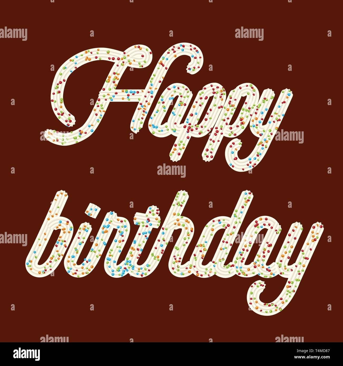 Tempting  typography. Icing text. 'Happy birthday' whipped cream text glazed with candy. Vector. - Stock Image