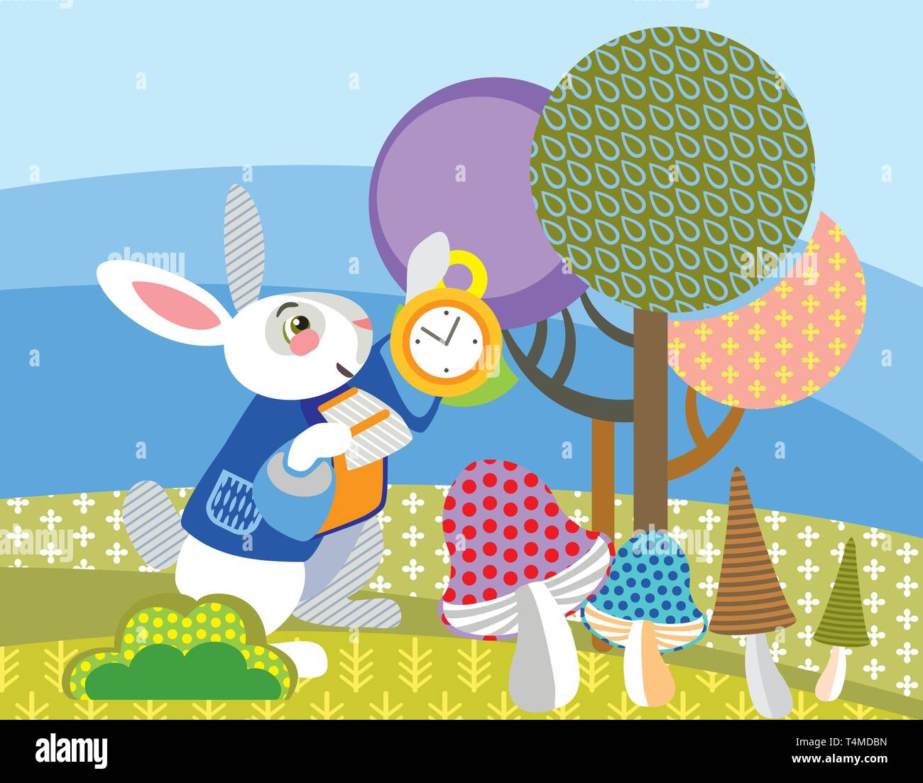 Colorful decorative vector image White rabbit with golden clock in forest. Alice in Wonderland - Fictional Character, vector cartoon flat illustration Stock Vector