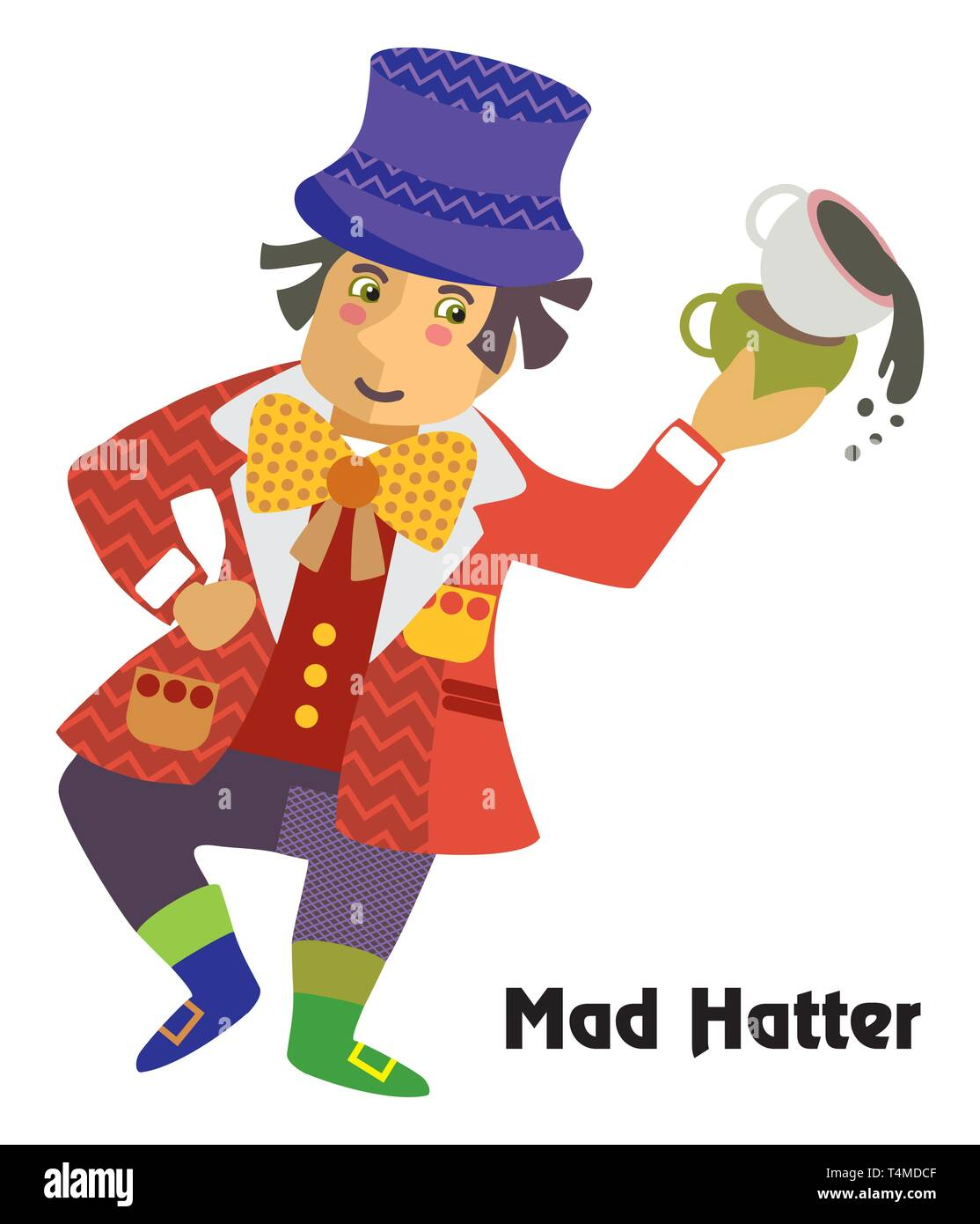 190311848aae9 Colorful decorative outline portrait of dancing Mad Hatter with cup of tea  in his hand.
