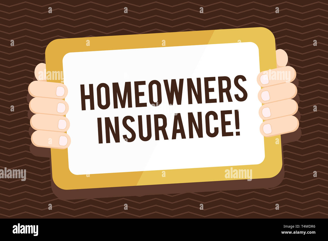 Writing note showing Homeowners Insurance. Business concept for Covers losses and damages to an individual s is house Color Tablet Smartphone with Scr - Stock Image