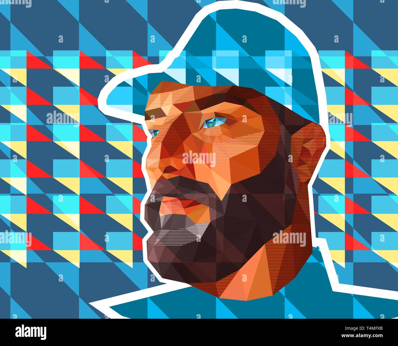 Vector illustration in low polygon style. A man with large expressive features, a thick beard, a crook-nose and slightly slanting eyes is dressed in m - Stock Vector