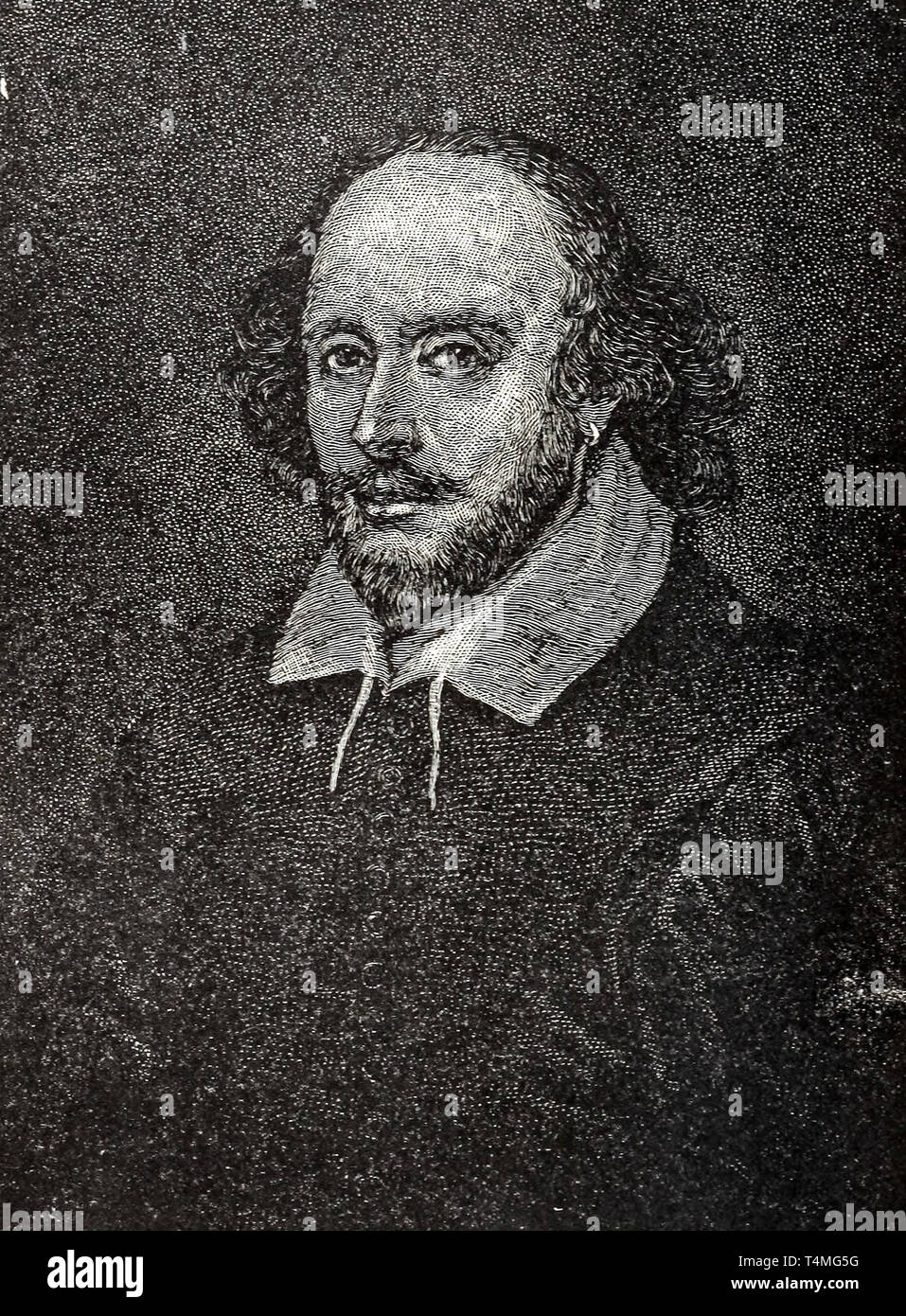 William Shakespeare (1564-1616), portrait, etching, artist unknown Stock Photo