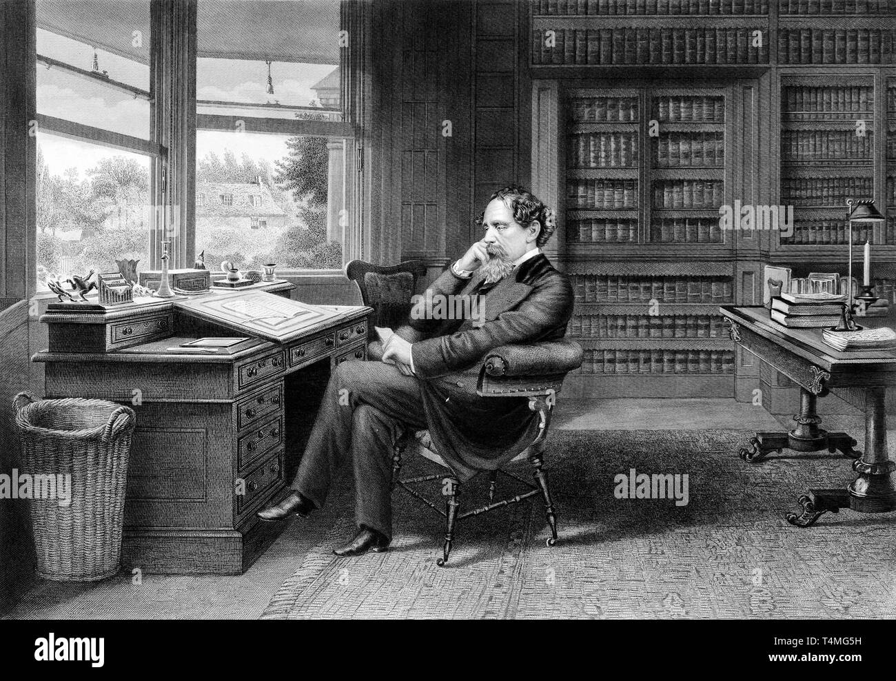 Portrait of Charles Dickens in His Gad's Hill Study, c. 1875, Samuel Hollyer - Stock Image