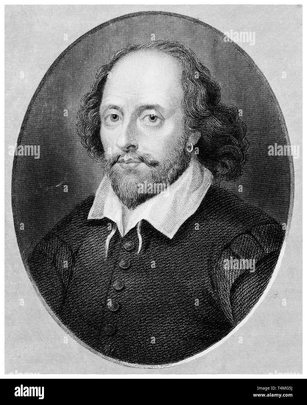 William Shakespeare (1564-1616), portrait engraving, Benjamin Holl, 19th Century after Arnold Houbraken Stock Photo