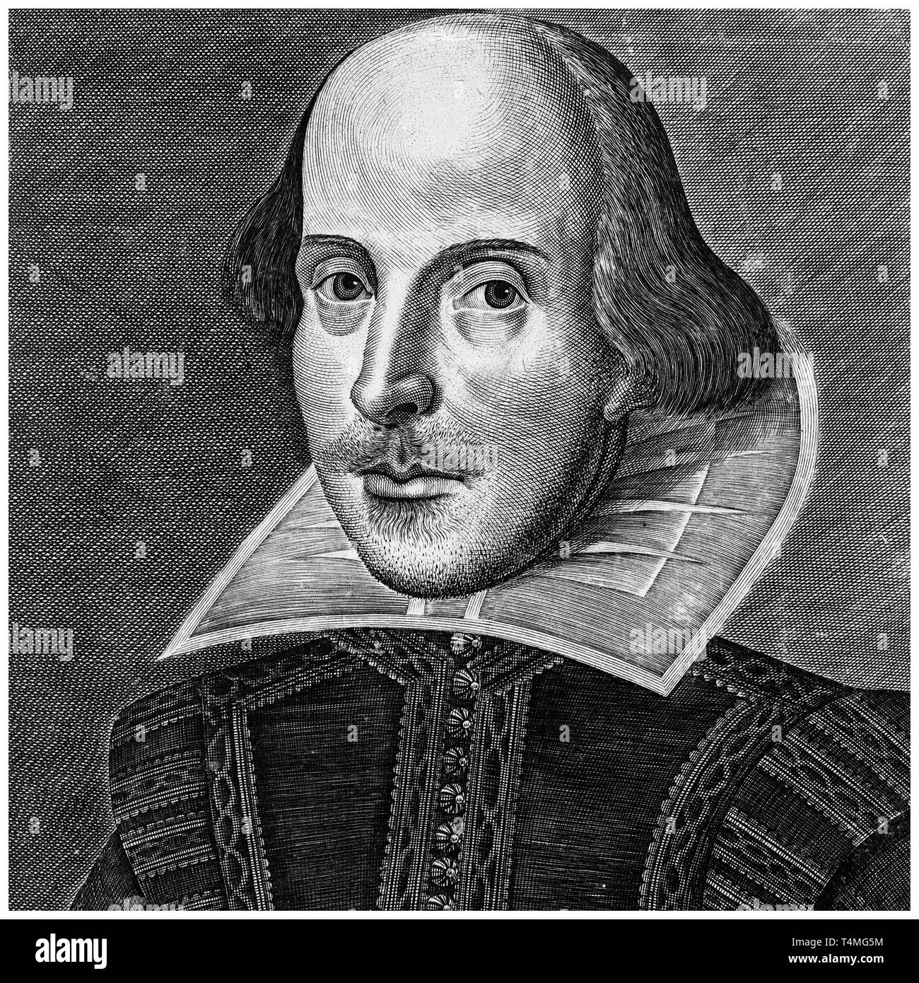 William Shakespeare (1564-1616), portrait engraving, Martin Droeshout, 1623 Stock Photo