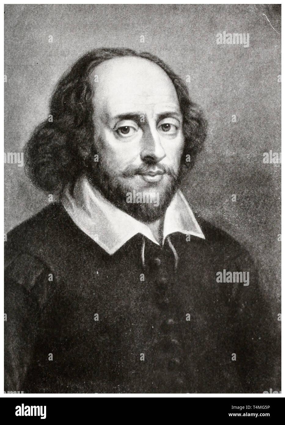 William Shakespeare (1564-1616), portrait etching, 1908 Stock Photo