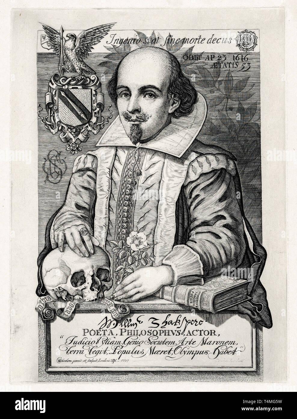 William Shakespeare (1564–1616), portrait engraving, Charles William Sherborn, 1876 Stock Photo