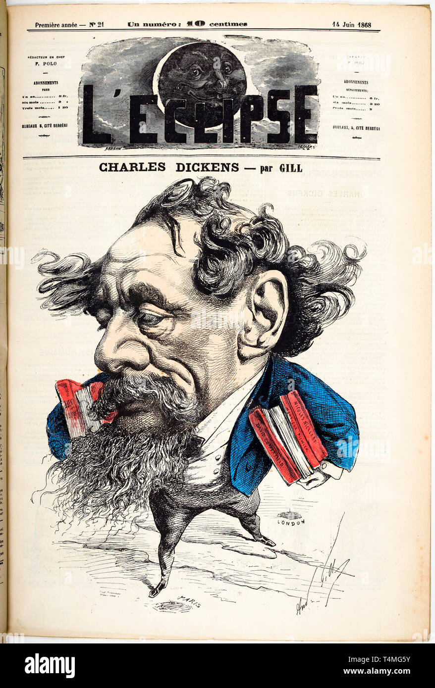 Caricature portrait of Charles Dickens (1812-1870), Cover of L'Eclipse magazine, 14 June 1868, Hand-colored Engraving by André Gill Stock Photo