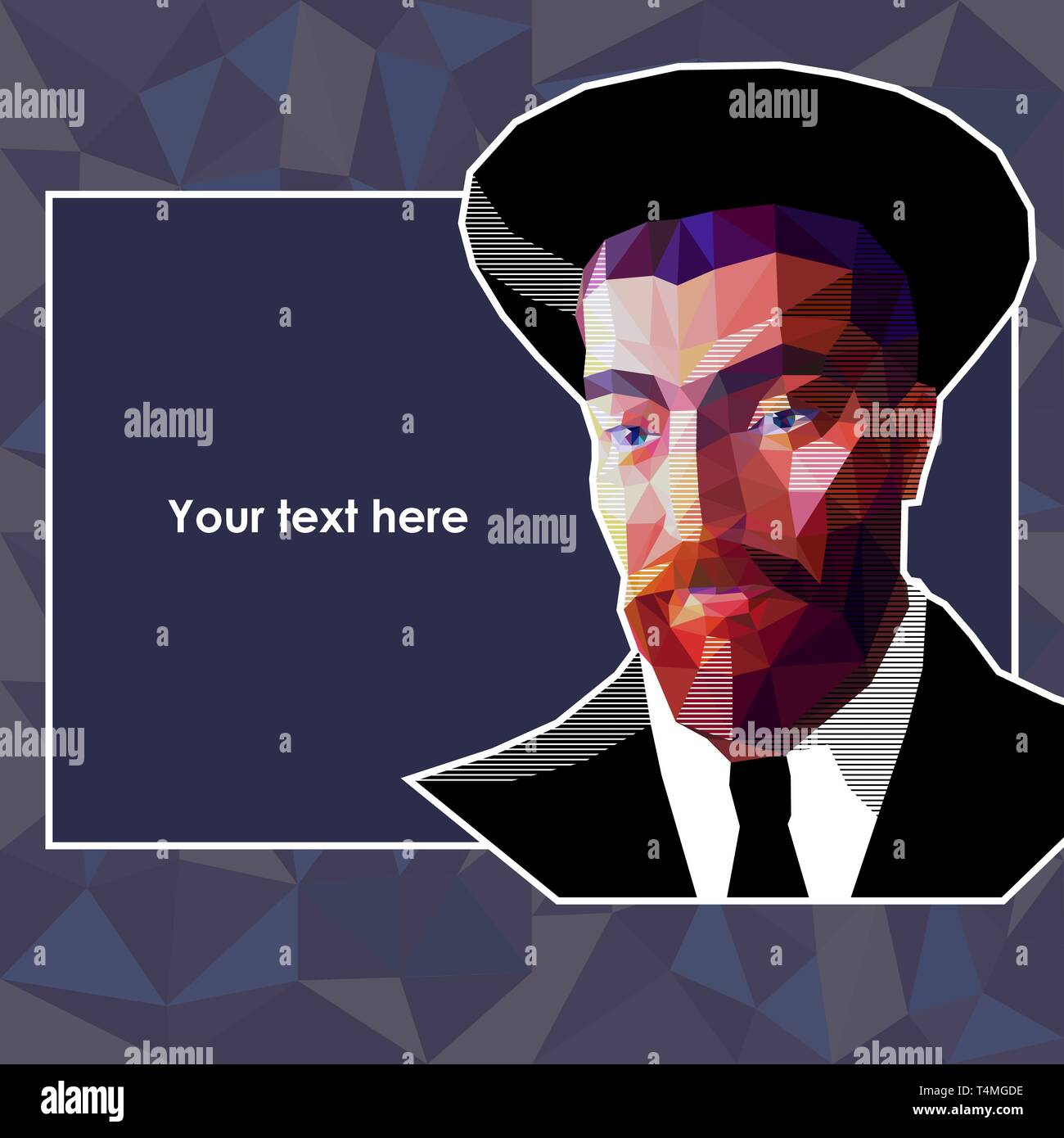 Vector portrait of a young Jew in the low polygon style. The man has a red beard and wide eyebrows. He is wearing a high hat and a suit. There is an a - Stock Vector