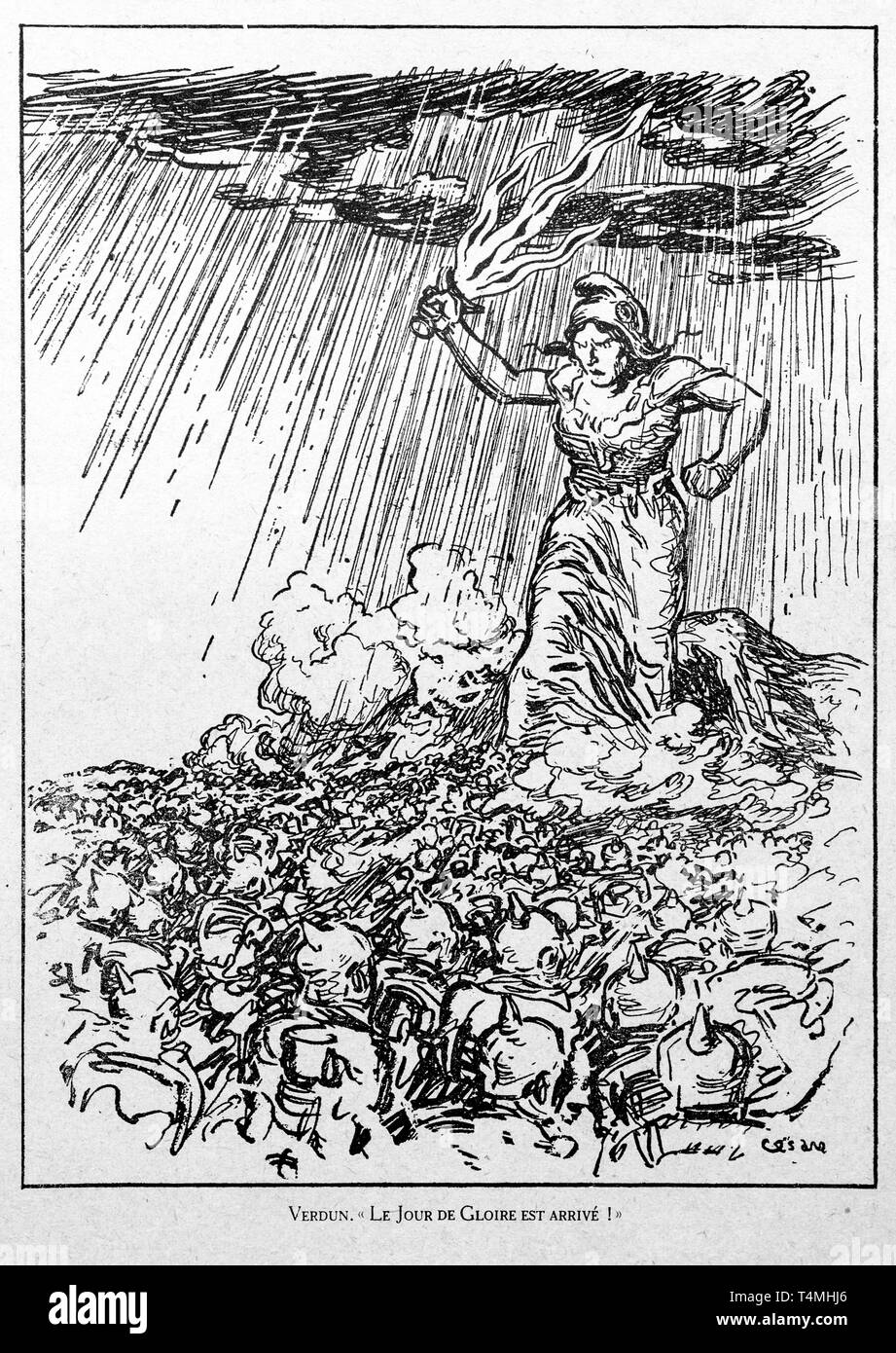 Verdun. Le Jour de Gloire est Arrivé, WW1 caricature by illustrator Cesare showing Marianne, national symbol of the French Republic at the Verdun battlefield - Stock Image