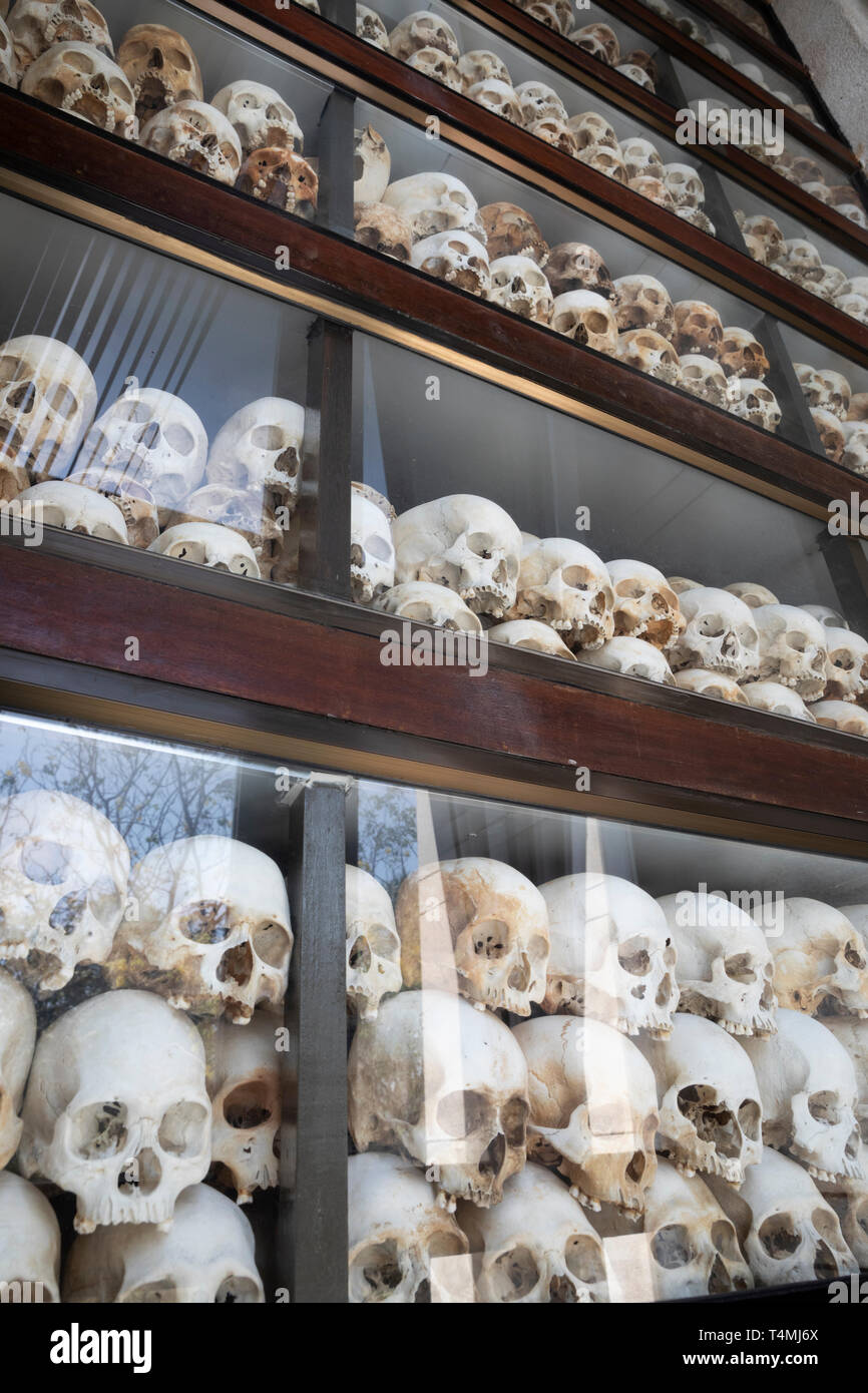 Skulls of victims of the Khmer Rouge in the Memorial Stupa at the Killing Fields of Choeung Ek, Phnom Penh, Cambodia, Southeast Asia, Asia - Stock Image