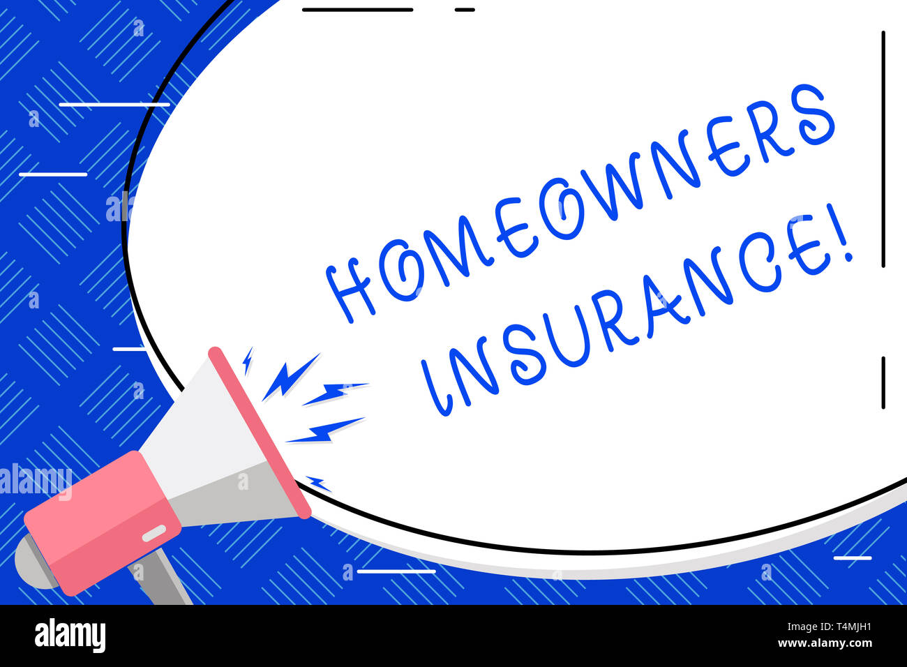 Writing note showing Homeowners Insurance. Business concept for Covers losses and damages to an individual s is house Oval Shape Sticker and Megaphone - Stock Image