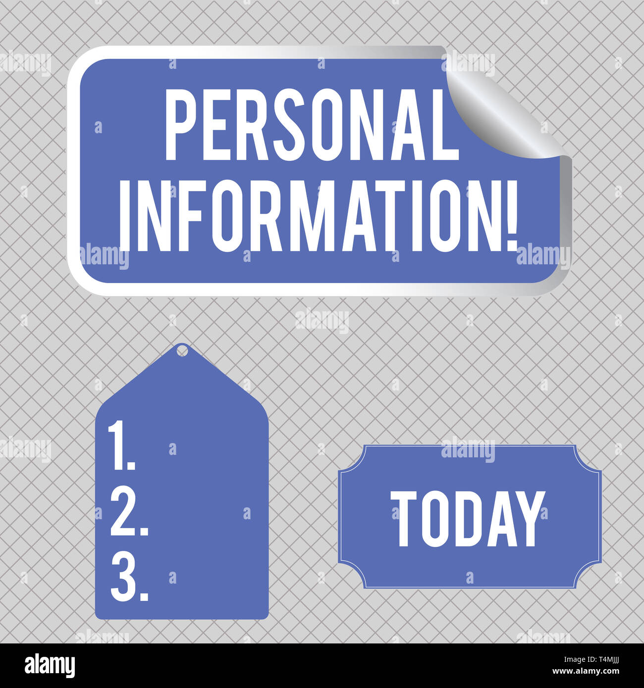 Conceptual hand writing showing Personal Information. Concept meaning recorded information about an identifiable individual Color Label Self Adhesive  Stock Photo
