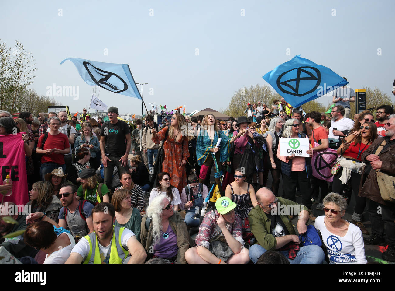 Extinction Rebellion demonstrators on Waterloo Bridge, London, after police issued a Section 14 Public Order Act 1986 warning. - Stock Image
