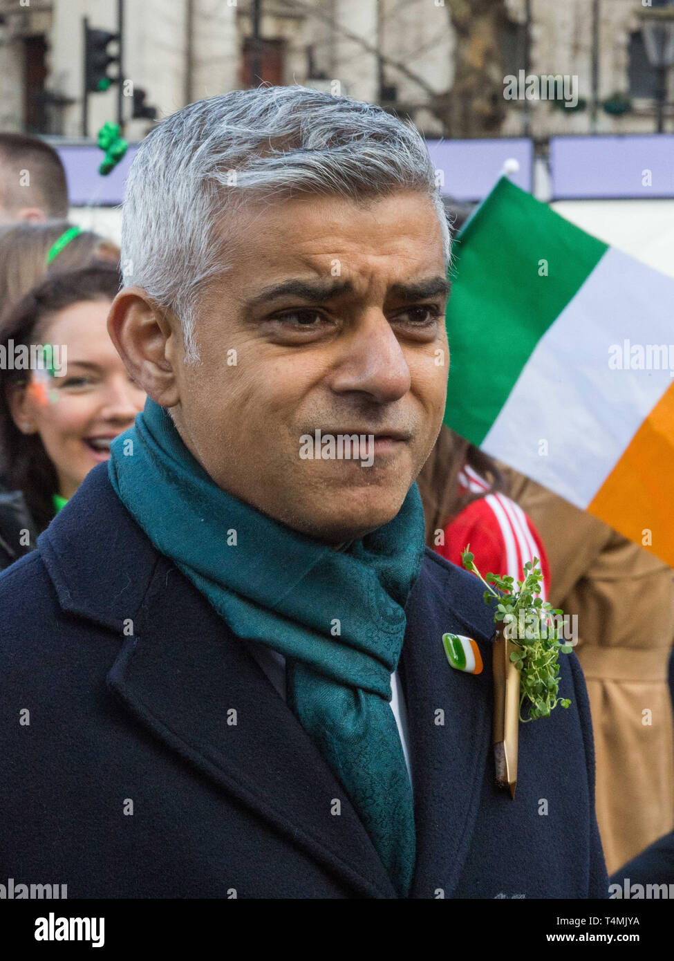 London's world-renowned St Patrick's Day parade, led by this year's Grand Marshal, actor James Nesbitt.  Featuring: Sadiq Khan Where: London, United Kingdom When: 17 Mar 2019 Credit: Wheatley/WENN - Stock Image
