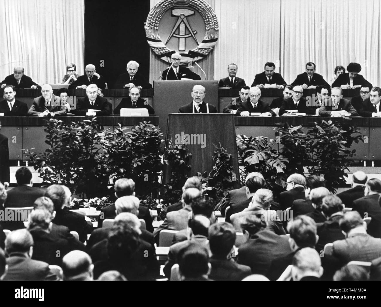 Walter Ulbricht (C), Chairman of the Council of State of the German Democratic Republic, pictured during a speech in front of the executive committee of the People's Chamber in East Berlin on 31 January 1968. He presented a draft of a new 'Socialist constitution of the GDR' . Ulbricht cited from article eight of the constitution:'The German Democratic Republic and its citizens seek to overcome the division forced on the German nation by imperialism, and to gradually reproach the two German states to the point of their unification on the basis of democracy and socialism.' Photo: ADN Zentralbild - Stock Image
