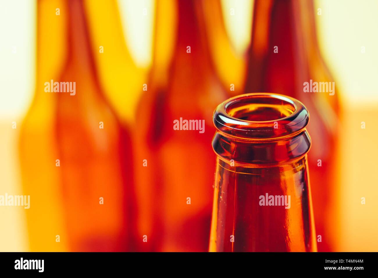 brown glass bottles for advertising still lifes - Stock Image