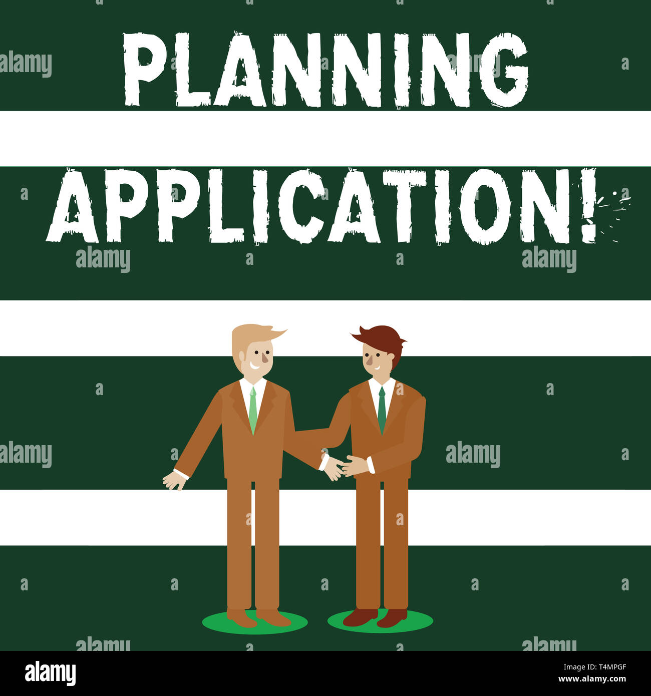 Conceptual hand writing showing Planning Application. Concept meaning request to a local authority for permission to build Businessmen Smiling and Gre - Stock Image