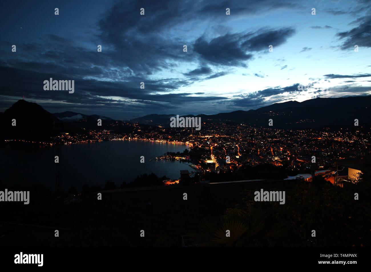 Lugano at dusk Stock Photo