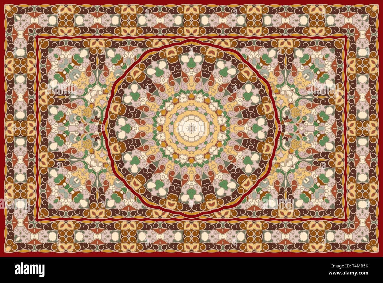 Rich Arabic Ornament For Carpet Colored Persian Rug Stock