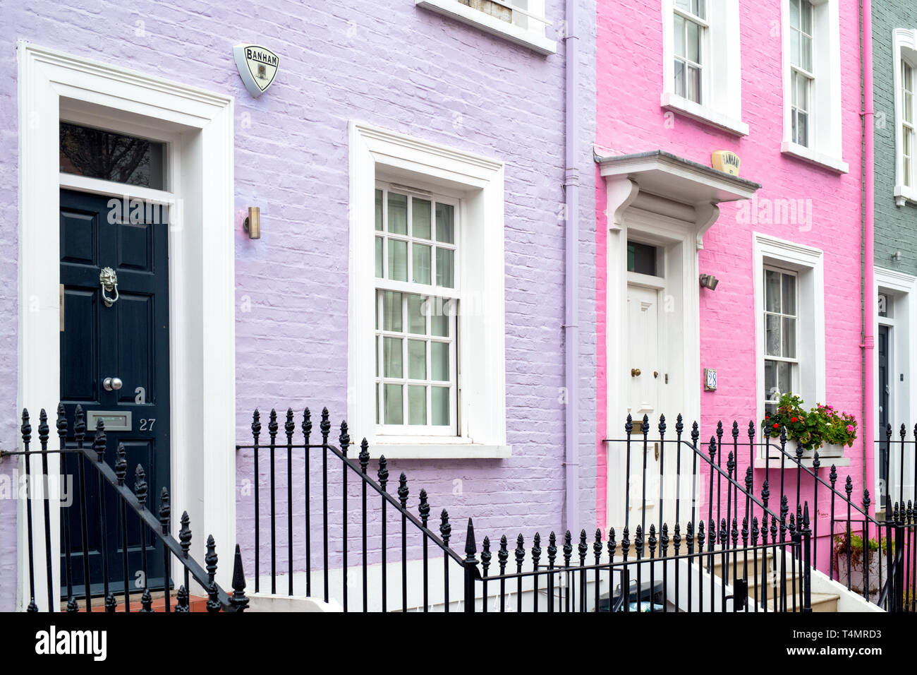 Colourful terraced houses, Bywater Street, Chelsea, Royal Borough of Kensington and Chelsea, London, England - Stock Image