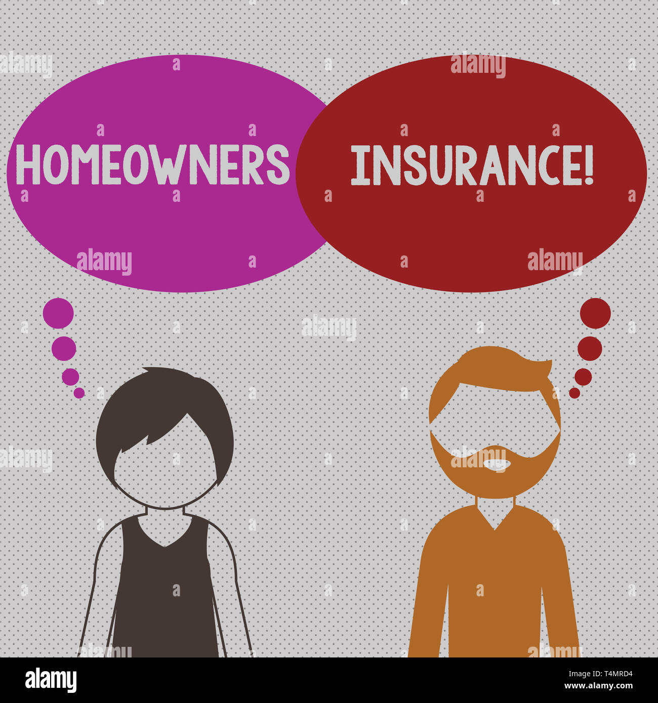 Writing note showing Homeowners Insurance. Business concept for Covers losses and damages to an individual s is house Bearded Man and Woman with the B - Stock Image