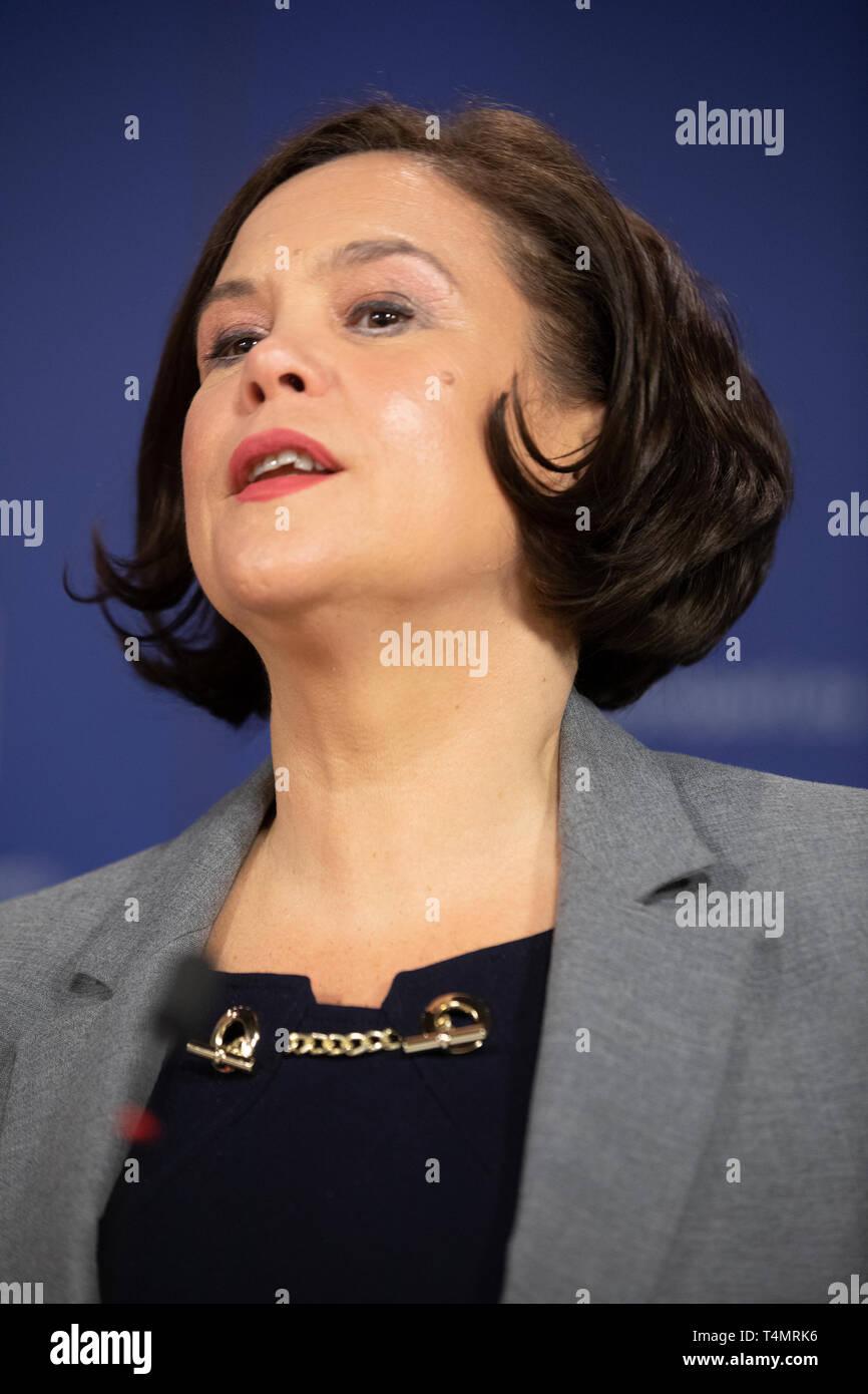 28th February 2018 -  Mary Louise McDonald is an Irish Sinn Fein politician serving as Leader of Sinn Fein since February 2018 and Teachta Dala - Stock Image
