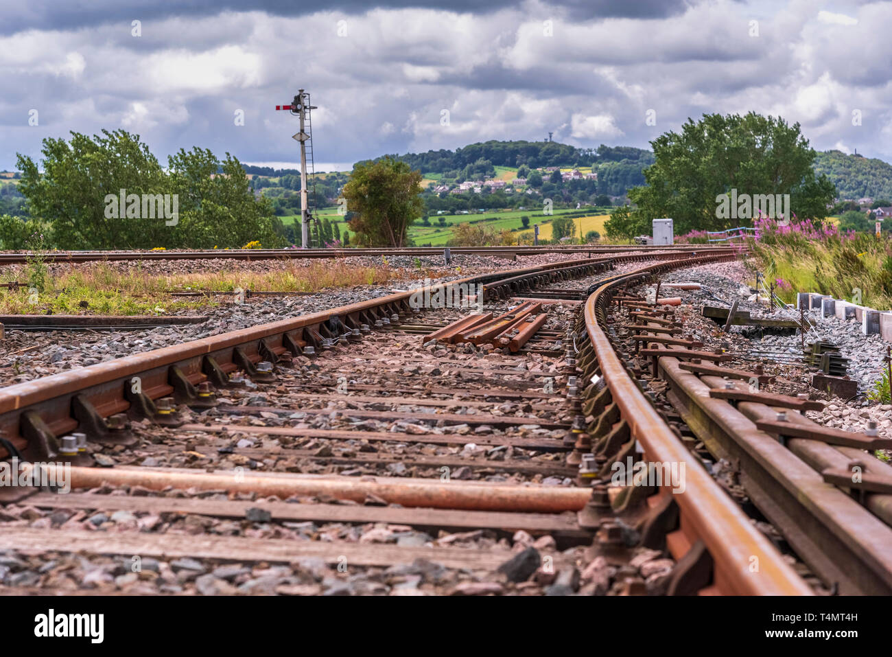 Railway tracks at Sutton Weaver junction. - Stock Image