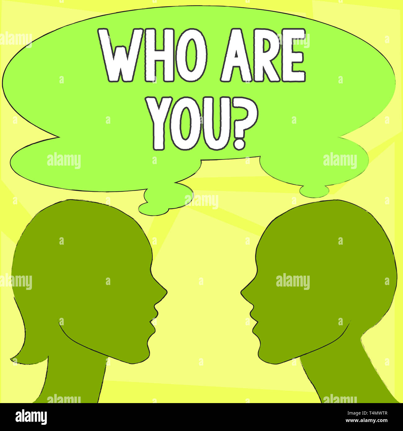 Handwriting text writing Who Are You question. Conceptual photo asking demonstrating identity or demonstratingal information Silhouette Sideview Profi - Stock Image