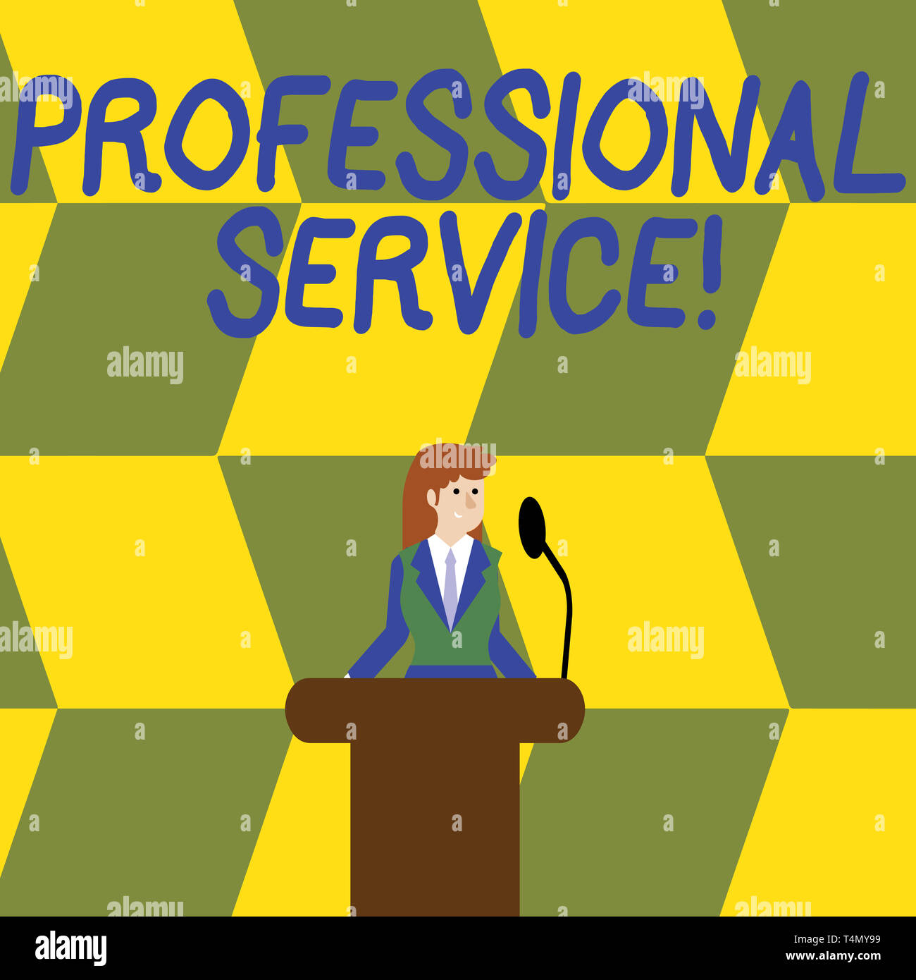 Writing note showing Professional Service. Business concept for requiring special training in the arts or sciences Businesswoman Behind Podium Rostrum - Stock Image