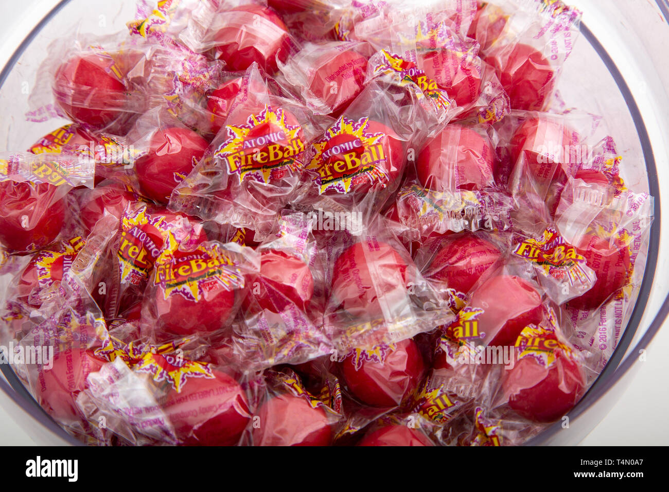 A bowl of wrapped Atomic Fire Balls - Stock Image
