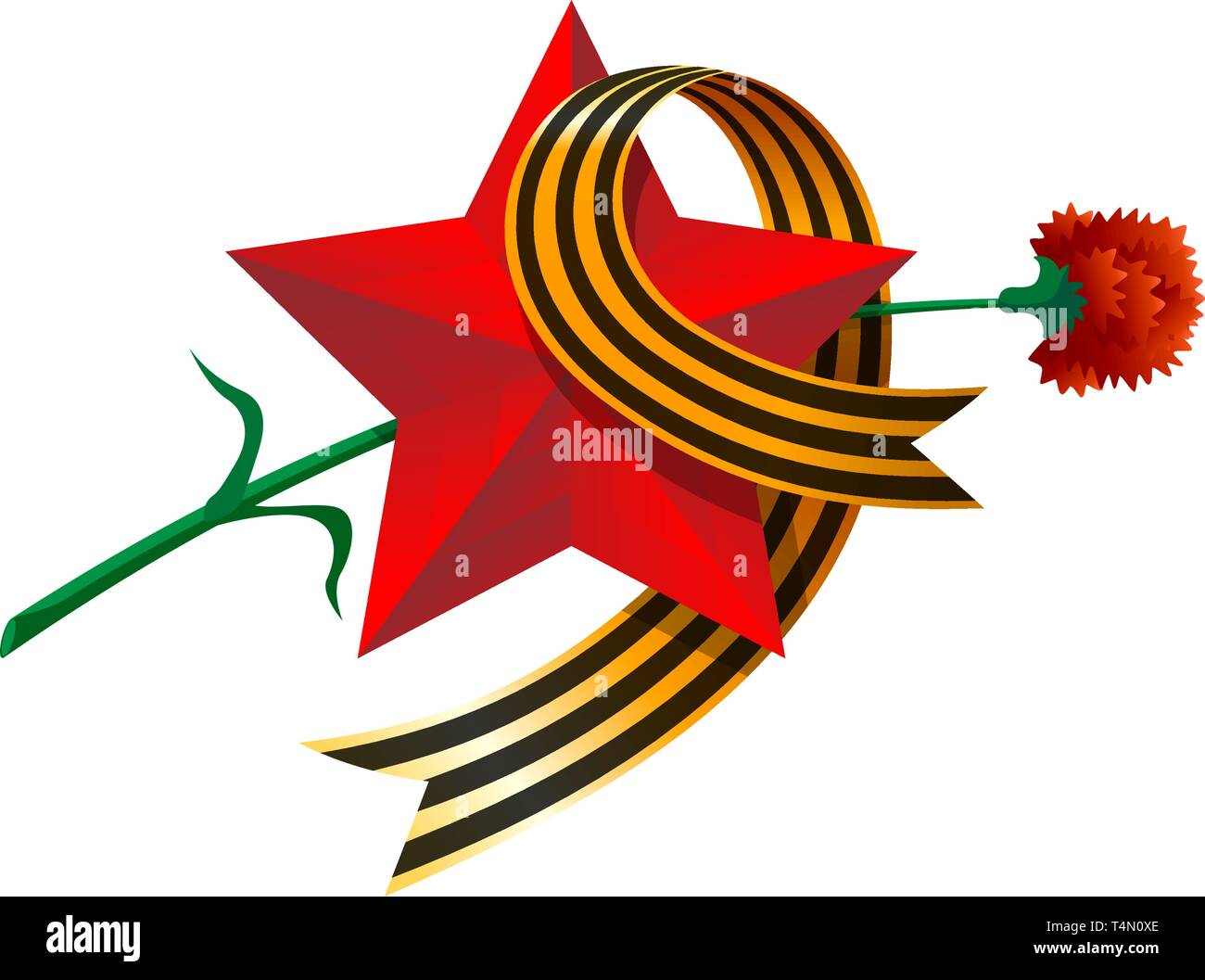 May 9 Russian USSR red army holiday Great Victory day. Big red star, figure nine from St. George's ribbon, carnation. Excellent vector illustration gi - Stock Vector