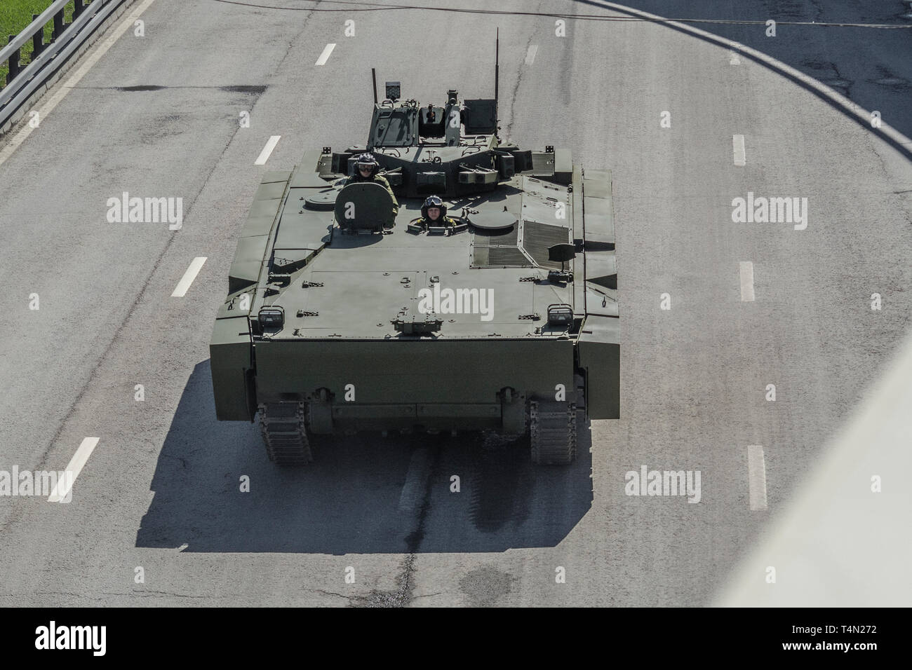 Moscow, May 7, 2015. The APC B-10 Kurganets-25 returns from the Red Square after the Victory Day Parade rehearsal, front view. - Stock Image
