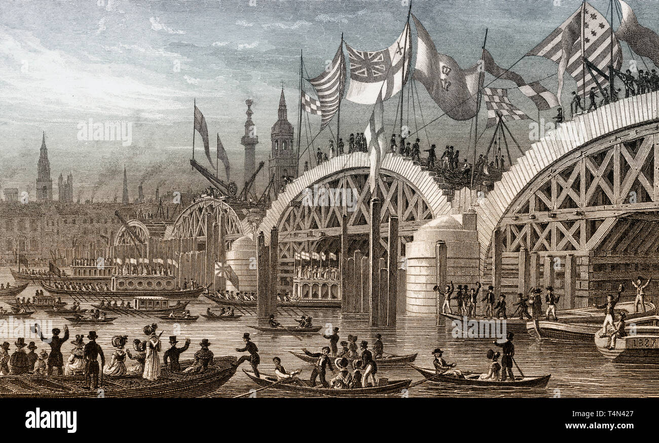New London Bridge, with the Lord Mayor's Procession 1827, London, illustration by Th. H. Shepherd - Stock Image