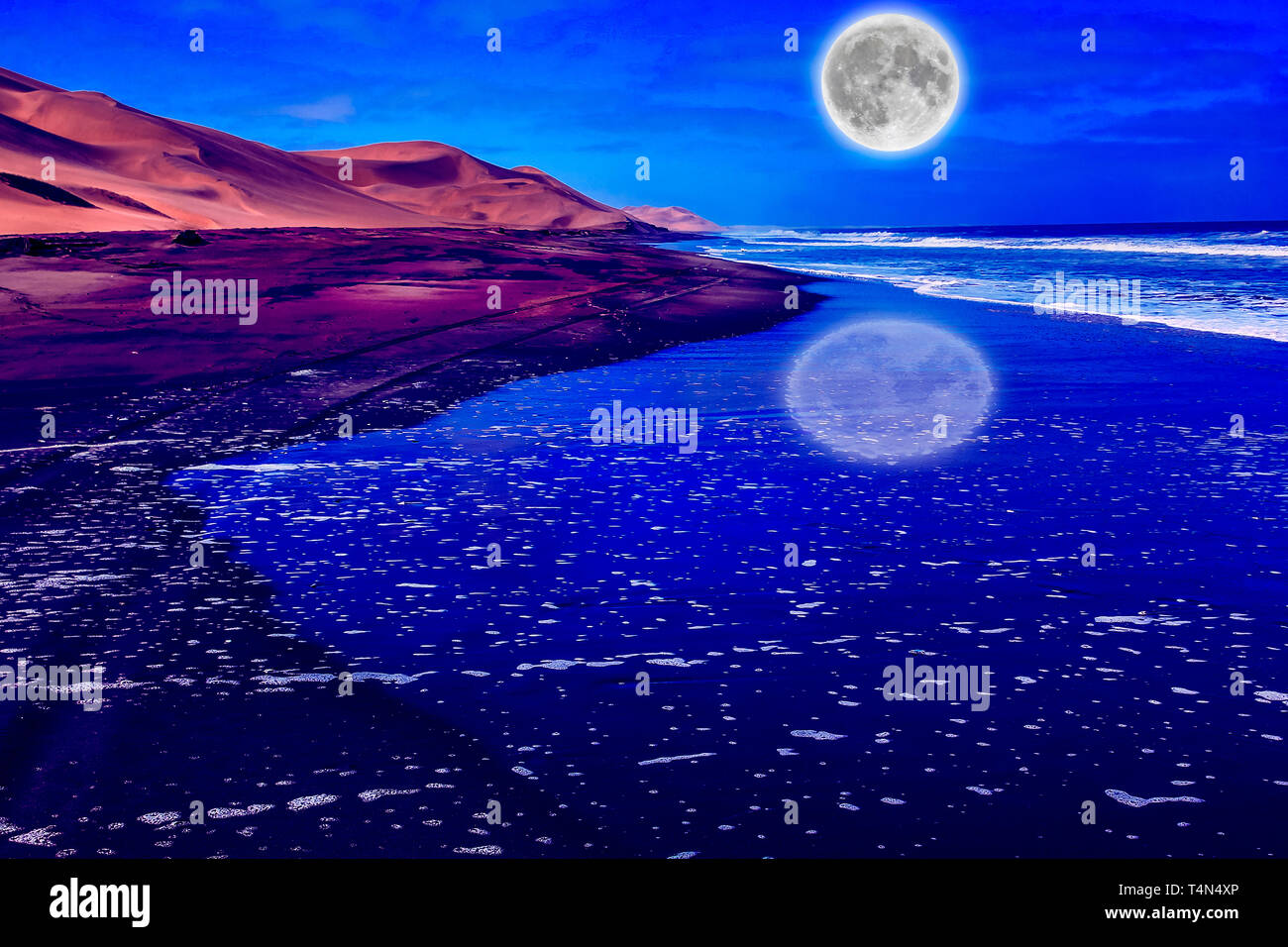 Night sky with clouds and big full moon at night on the sandy beach with dunes and ocean background by night reflecting. Sandwich Harbour, Walvis Bay - Stock Image