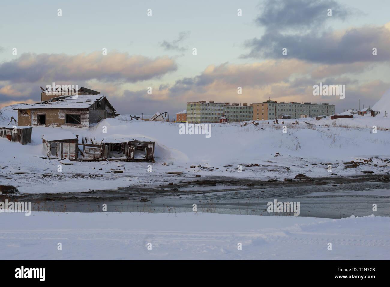 February evening in the Teriberka village. Murmansk region, Russia - Stock Image