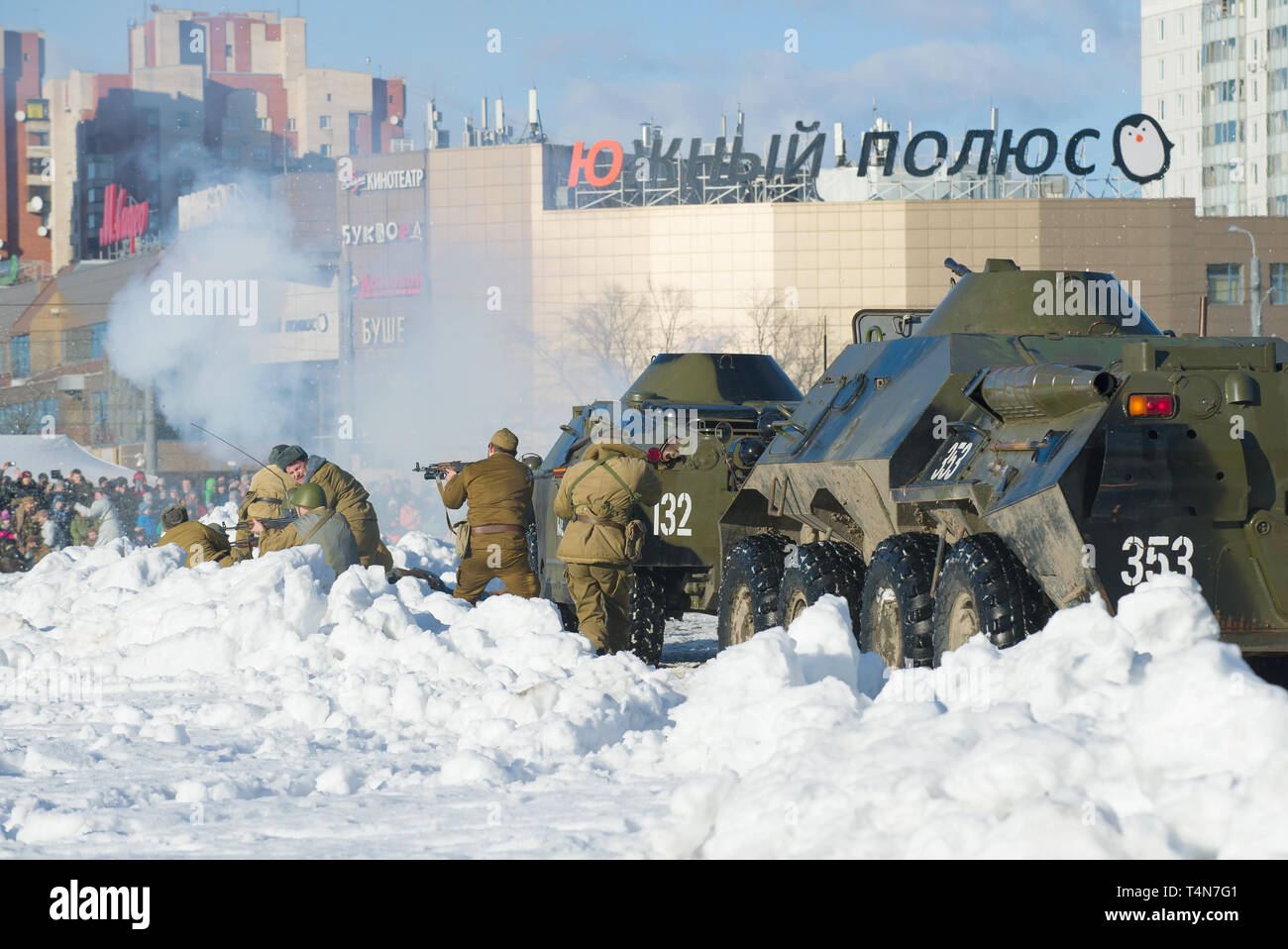 SAINT-PETERSBURG, RUSSIA - FEBRUARY 17, 2019: Fragment of the battle during the military-historical reconstruction in honor of the thirty years withdr Stock Photo