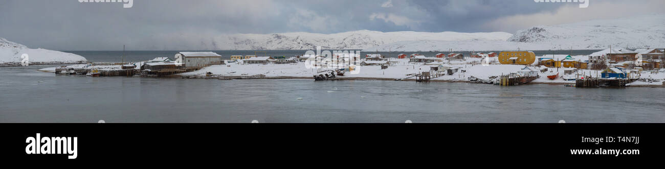 Panorama of the village of Teriberka in February day. Murmansk region, Russia - Stock Image