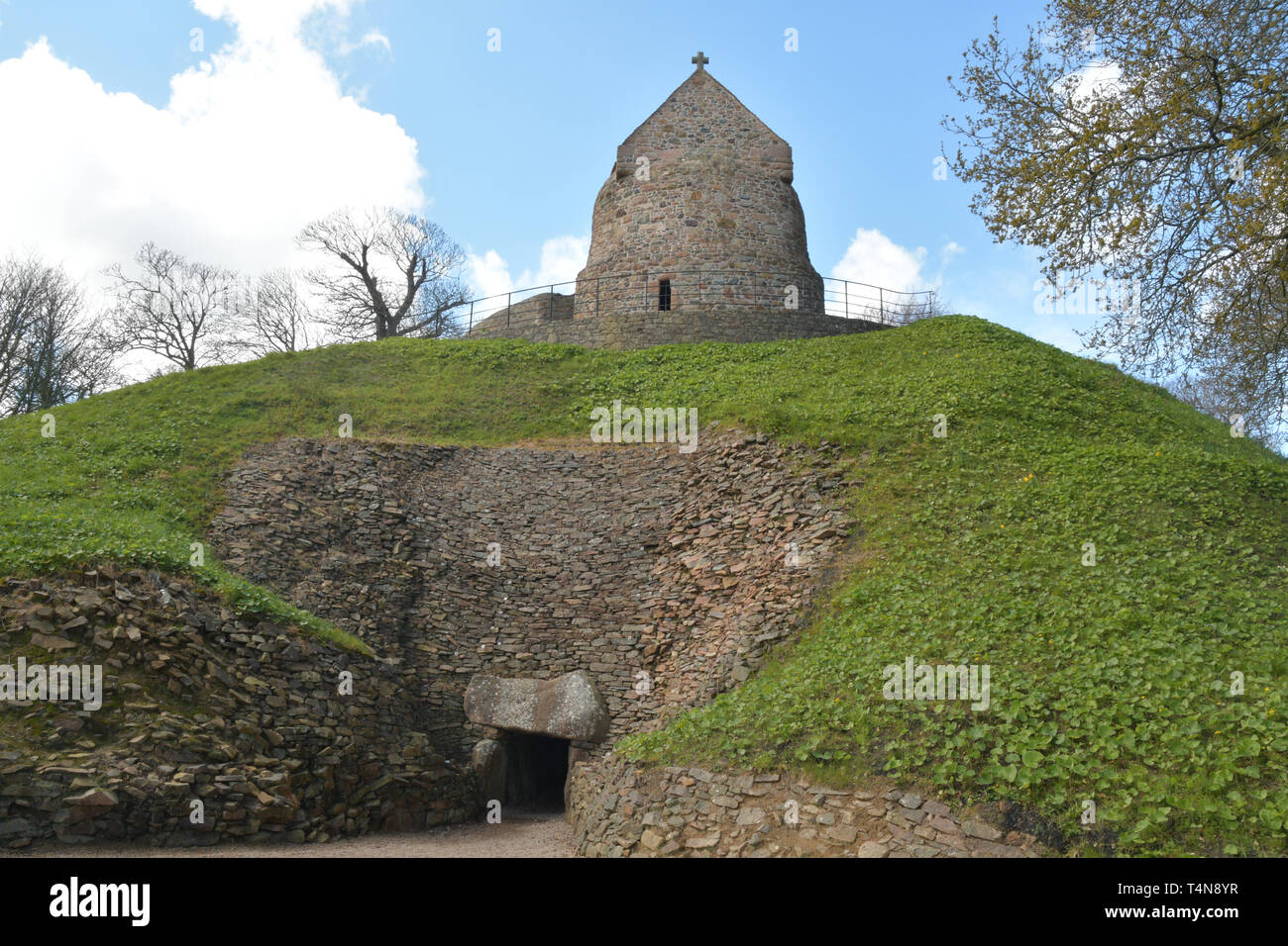 La Hougue Bie  Passage Grave is one of the ten oldest buildings in the world,The 6000 year-old burial site  is one of the best preserved remnants of t Stock Photo